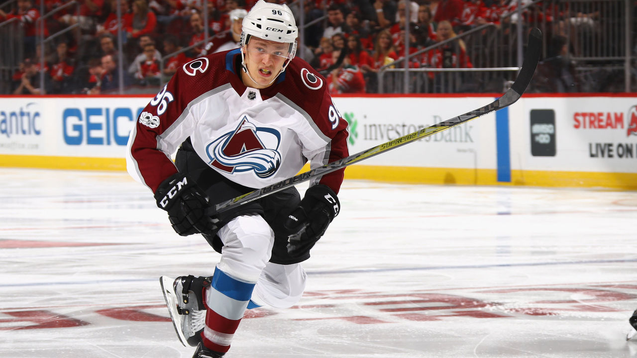 NEWARK, NJ - OCTOBER 07: Mikko Rantanen #96 of the Colorado Avalanche skates against the New Jersey Devils at the Prudential Center on October 7, 2017 in Newark, New Jersey.