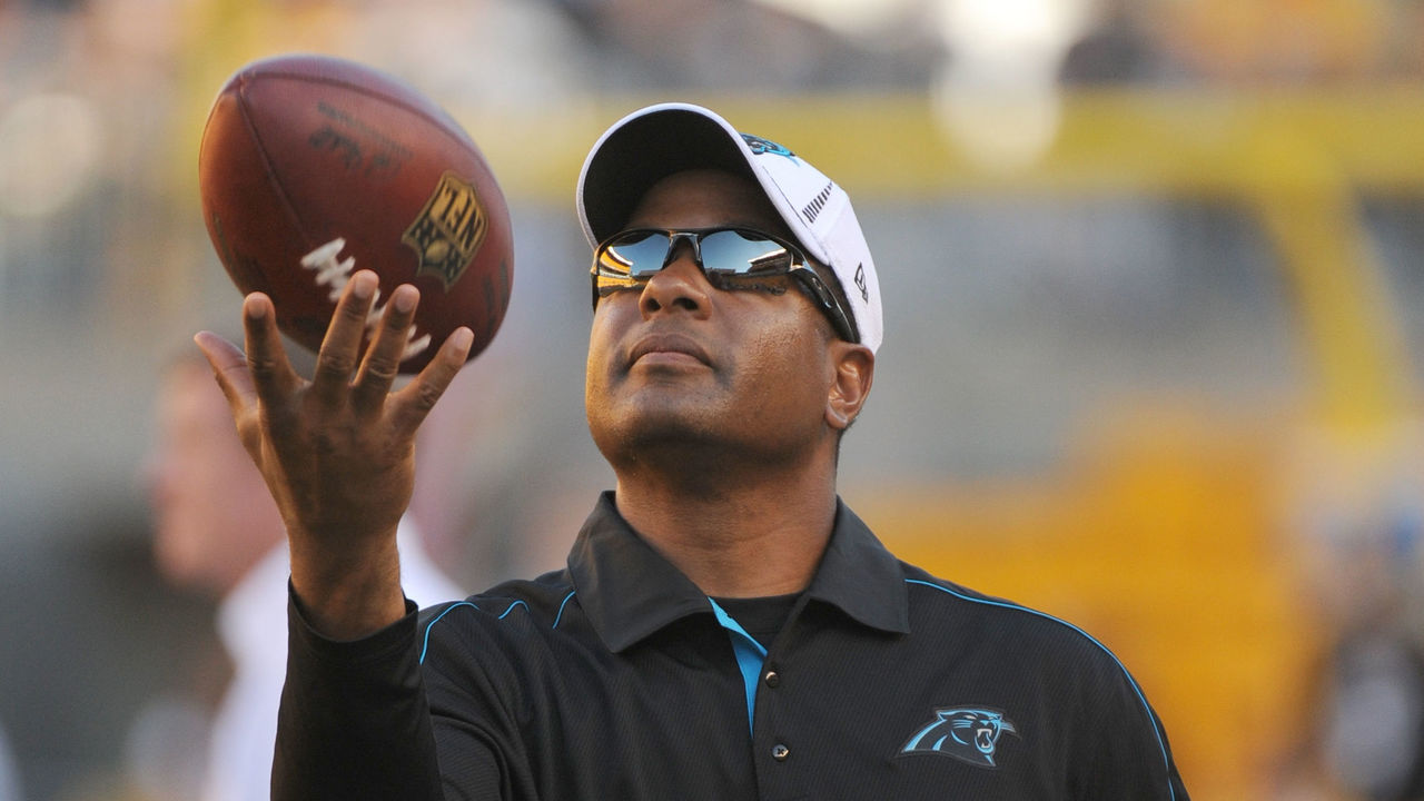 PITTSBURGH, PA - AUGUST 30: Secondary/pass defense coordinator Steve Wilks of the Carolina Panthers tosses a football in the air during pregame warmup before a preseason game against the Pittsburgh Steelers at Heinz Field on August 30, 2012 in Pittsburgh, Pennsylvania. The Steelers defeated the Panthers 17-16.