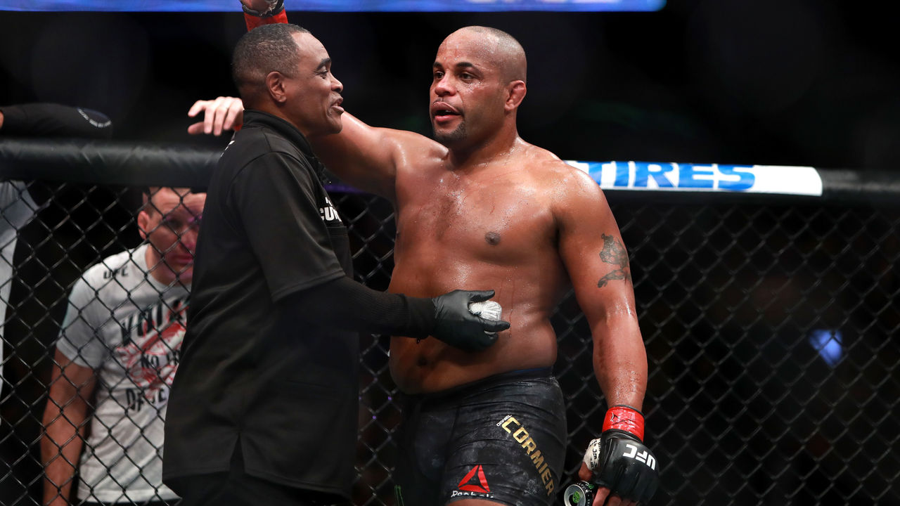 BOSTON, MA - JANUARY 20: Daniel Cormier reacts after his fight against Volkan Oezdemir in their Light Heavyweight Championship fight during UFC 220 at TD Garden on January 20, 2018 in Boston, Massachusetts.