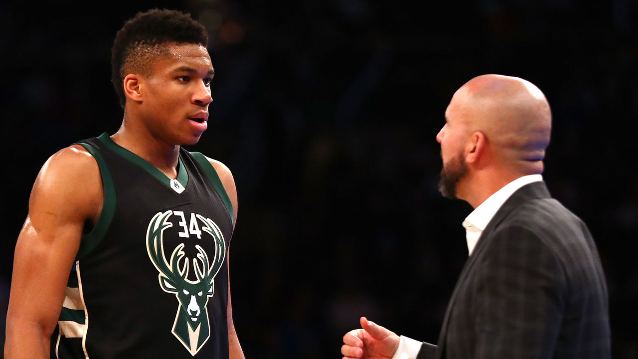 NEW YORK, NY - JANUARY 04: Giannis Antetokounmpo #34 of the Milwaukee Bucks speaks to Head coach Jason Kidd of the Milwaukee Bucks during their game against the New York Knicks at Madison Square Garden on January 4, 2017 in New York City. NOTE TO USER: User expressly acknowledges and agrees that, by downloading and/or using this Photograph, user is consenting to the terms and conditions of the Getty Images License Agreement.