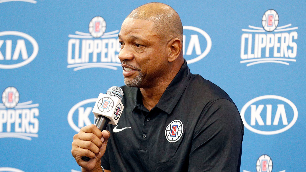PLAYA VISTA, CA - SEPTEMBER 25: Los Angeles Clippers head coach Doc Rivers answers questions from the media at the Los Angeles Clippers Training Center on September 25, 2017 in Playa Vista, California. NOTE TO USER: User expressly acknowledges and agrees that, by downloading and/or using this photograph, user is consenting to the terms and conditions of the Getty Images License Agreement.