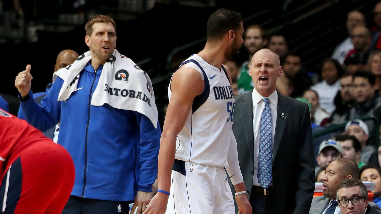 DALLAS, TX - JANUARY 22: Head coach Rick Carlisle of the Dallas Mavericks and Salah Mejri #50 of the Dallas Mavericks react after Salah Mejri #50 of the Dallas Mavericks is ejected from the game against the Washington Wizards at American Airlines Center on January 22, 2018 in Dallas, Texas.