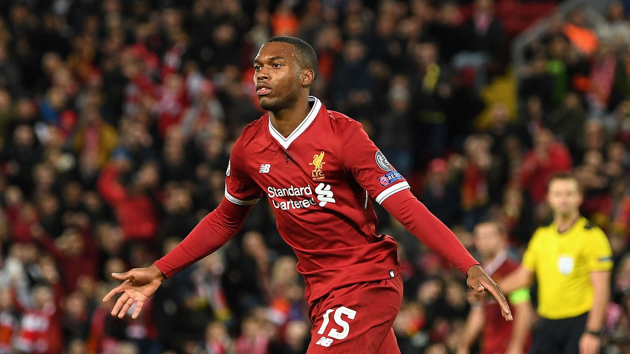 LIVERPOOL, ENGLAND - NOVEMBER 01: Daniel Sturridge of Liverpool scores his sides third goal during the UEFA Champions League group E match between Liverpool FC and NK Maribor at Anfield on November 1, 2017 in Liverpool, United Kingdom.
