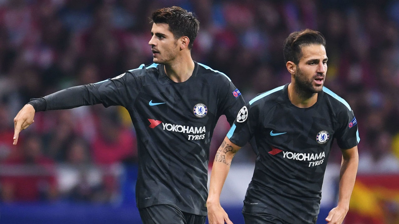 MADRID, SPAIN - SEPTEMBER 27: Alvaro Morata of Chelsea celebrates with Cesc Fabregas of Chelsea after he scores his sides first goal during the UEFA Champions League group C match between Atletico Madrid and Chelsea FC at Estadio Wanda Metropolitano on September 27, 2017 in Madrid, Spain.