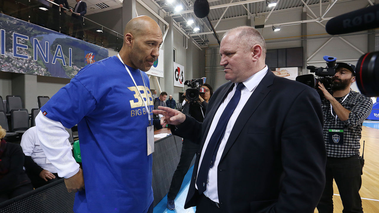 PRIENAI, LITHUANIA - JANUARY 09: LaVar Ball father of LiAngelo and LaMelo Ball talks with Virginijus Seskus head coach of Vytautas Prienai during the match between Vytautas Prienai and Zalgiris Kauno on January 9, 2018 in Prienai, Lithuania.