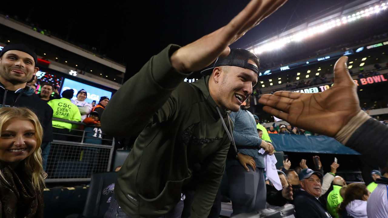 PHILADELPHIA, PA - JANUARY 21: Mike Trout of the Los Angeles Angels of Anaheim celebrates after the Philadelphia Eagles defeated the Minnesota Vikings 38-7 in their NFC Championship game at Lincoln Financial Field on January 21, 2018 in Philadelphia, Pennsylvania.