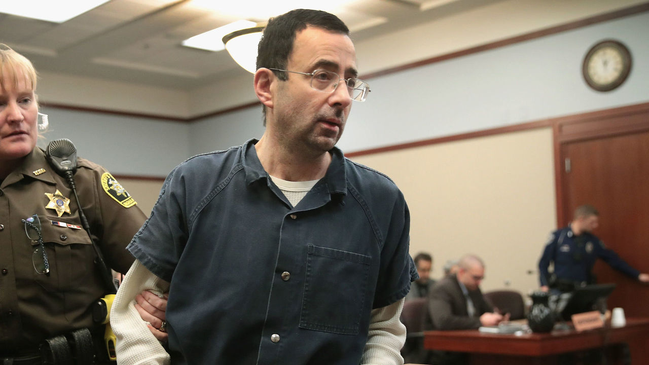 LANSING, MI - JANUARY 17: Larry Nassar appears in court to listen to victim impact statements during his sentencing hearing after being accused of molesting more than 100 girls while he was a physician for USA Gymnastics and Michigan State University where he had his sports-medicine practice on January 17, 2018 in Lansing, Michigan. Nassar has pleaded guilty in Ingham County, Michigan, to sexually assaulting seven girls, but the judge is allowing all his accusers to speak. Nassar is currently serving a 60-year sentence in federal prison for possession of child pornography.