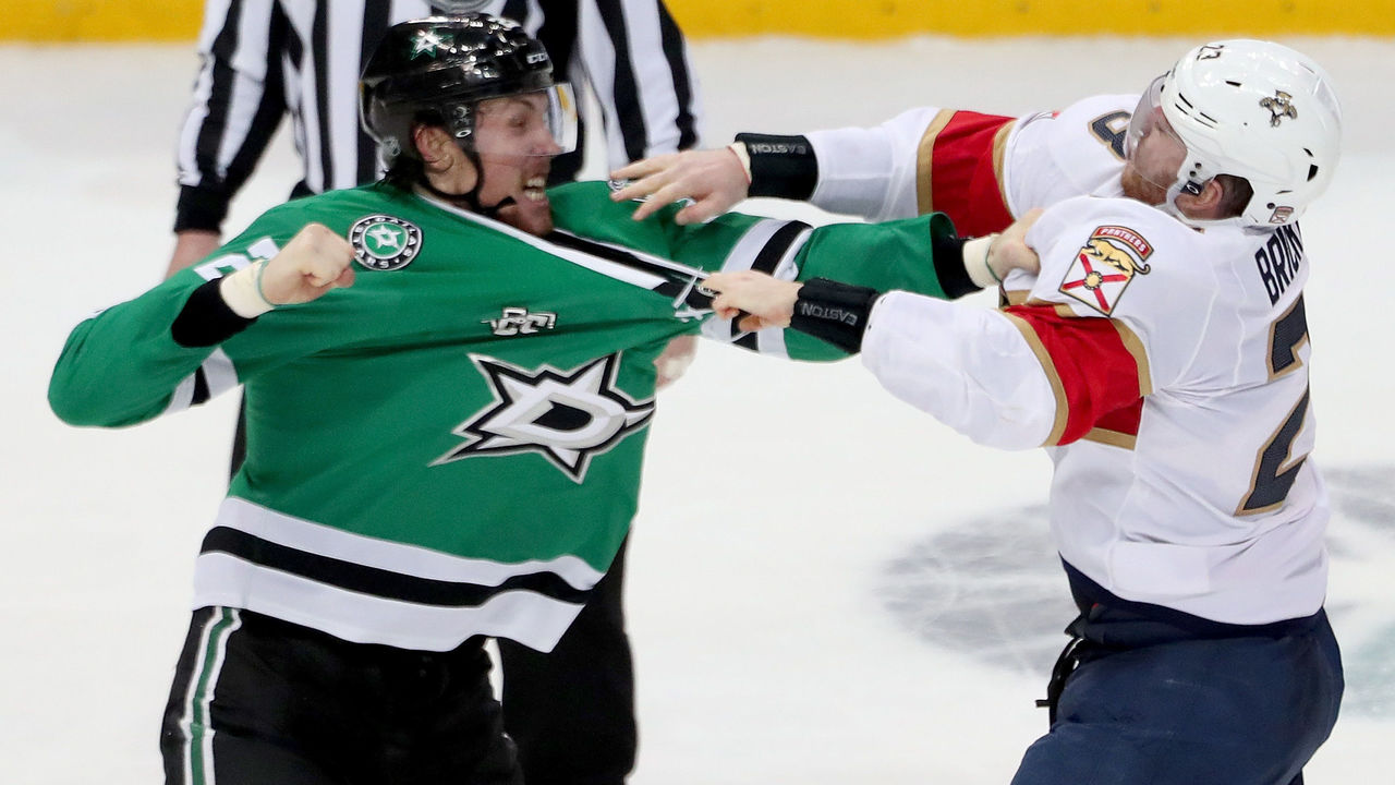 DALLAS, TX - JANUARY 23: Brett Ritchie #25 of the Dallas Stars fights with Connor Brickley #23 of the Florida Panthers in the third period at American Airlines Center on January 23, 2018 in Dallas, Texas.