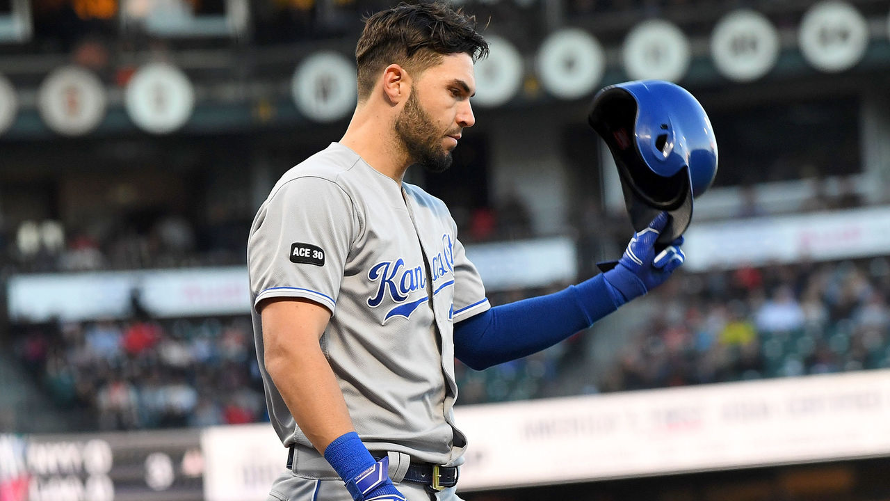 SAN FRANCISCO, CA - JUNE 13: Eric Hosmer #35 of the Kansas City Royals reacts after striking out against the San Francisco Giants in the top of the third inning at AT&T Park on June 13, 2017 in San Francisco, California.