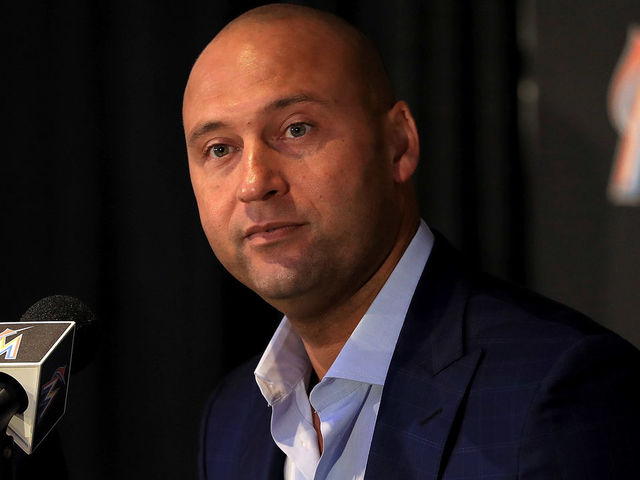 MIAMI, FL - OCTOBER 03: Miami Marlins CEO Derek Jeter speak with members of the media at Marlins Park on October 3, 2017 in Miami, Florida.