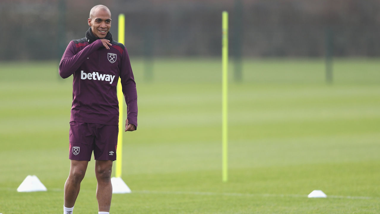 ROMFORD, ENGLAND - JANUARY 26: New Signing Joao Mario in action during the West Ham United Training session at Rush Green on January 26, 2018 in Romford, England.