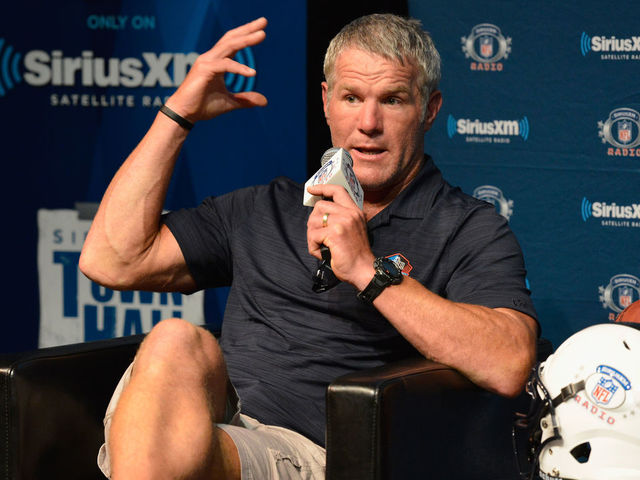 CANTON, OH - AUGUST 05: Brett Farve speaks during the SirusXM's Town Hall at Umstattd Hall at The Zimmerman Symphony Center on August 5, 2016 in Canton, Ohio.
