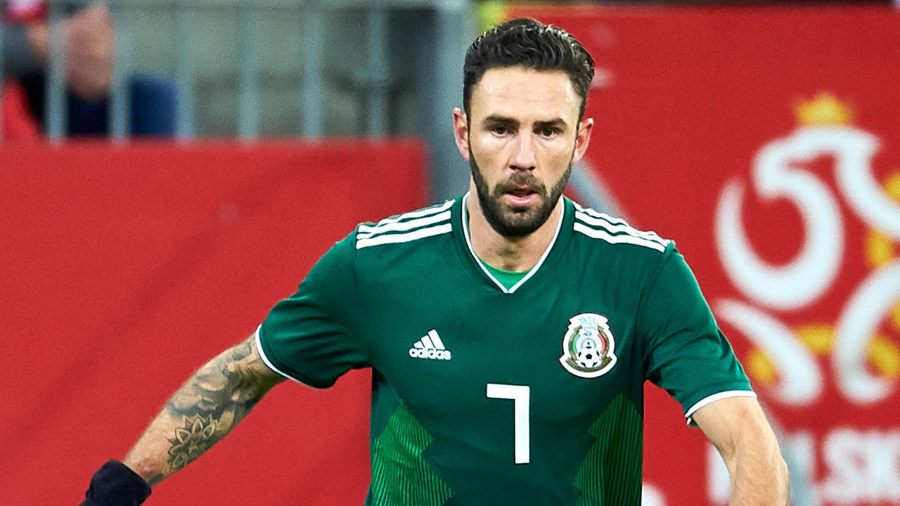 GDANSK, POLAND - NOVEMBER 13: Miguel Layun of Mexico controls the ball during the International Friendly match between Poland and Mexico at Energa Arena Stadium on November 13, 2017 in Gdansk, Poland.