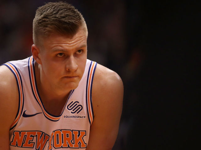 PHOENIX, AZ - JANUARY 26: Kristaps Porzingis #6 of the New York Knicks awaits a free-throw shot during the first half of the NBA game against the Phoenix Suns at Talking Stick Resort Arena on January 26, 2018 in Phoenix, Arizona.