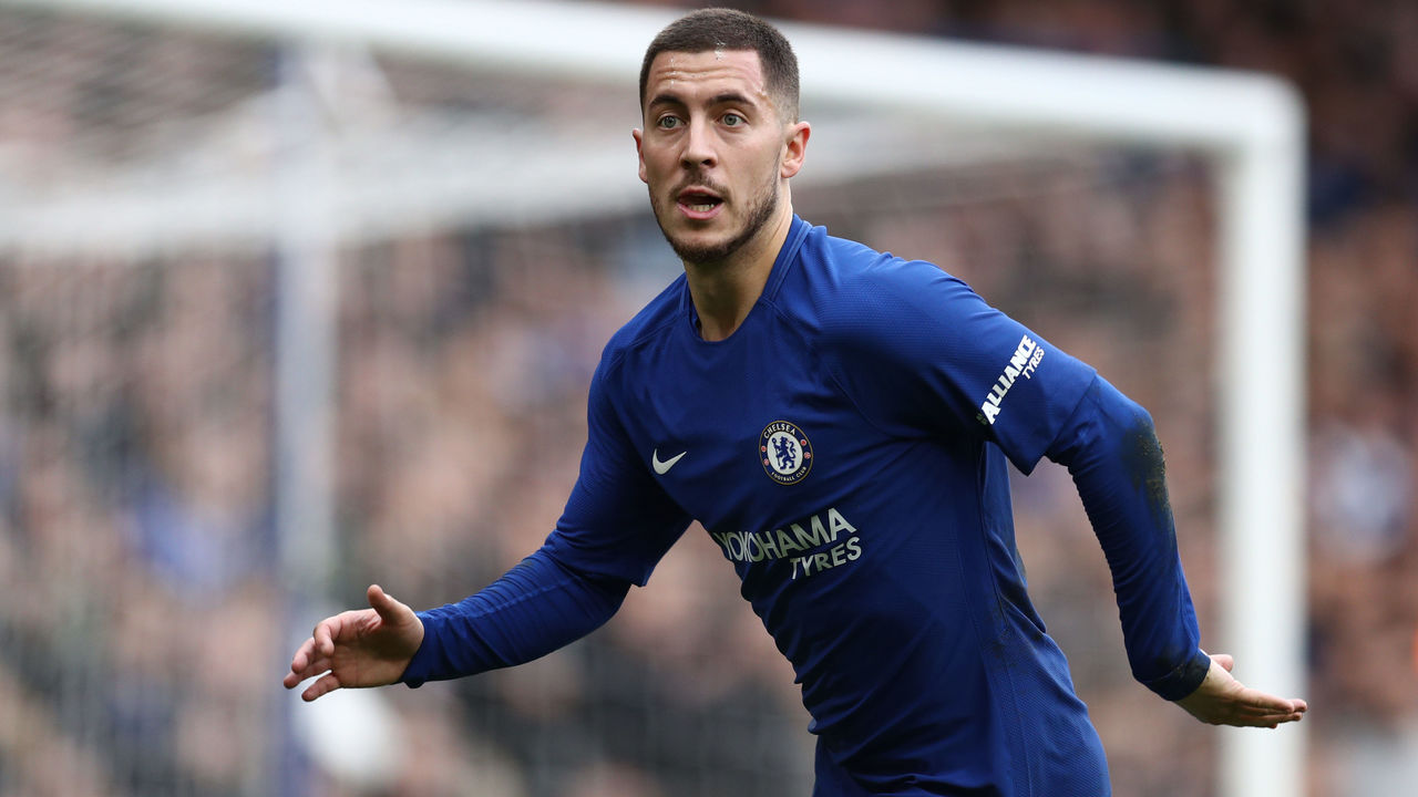 LONDON, ENGLAND - JANUARY 28: Eden Hazard of Chelsea during the Emirates FA Cup Fourth Round match between Chelsea and Newcastle United on January 28, 2018 in London, United Kingdom.