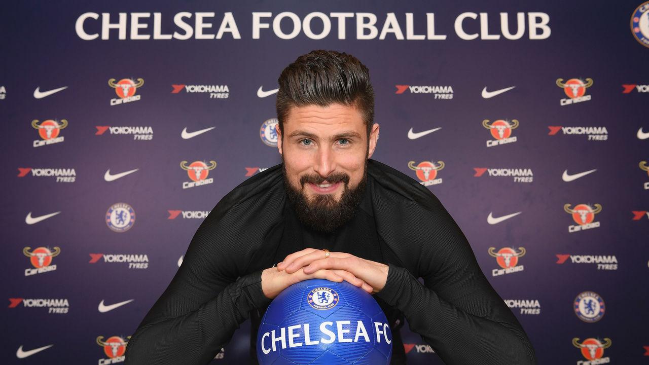 COBHAM, ENGLAND - JANUARY 31: Olivier Giroud of Chelsea at Chelsea Training Ground on January 31, 2018 in Cobham, England.