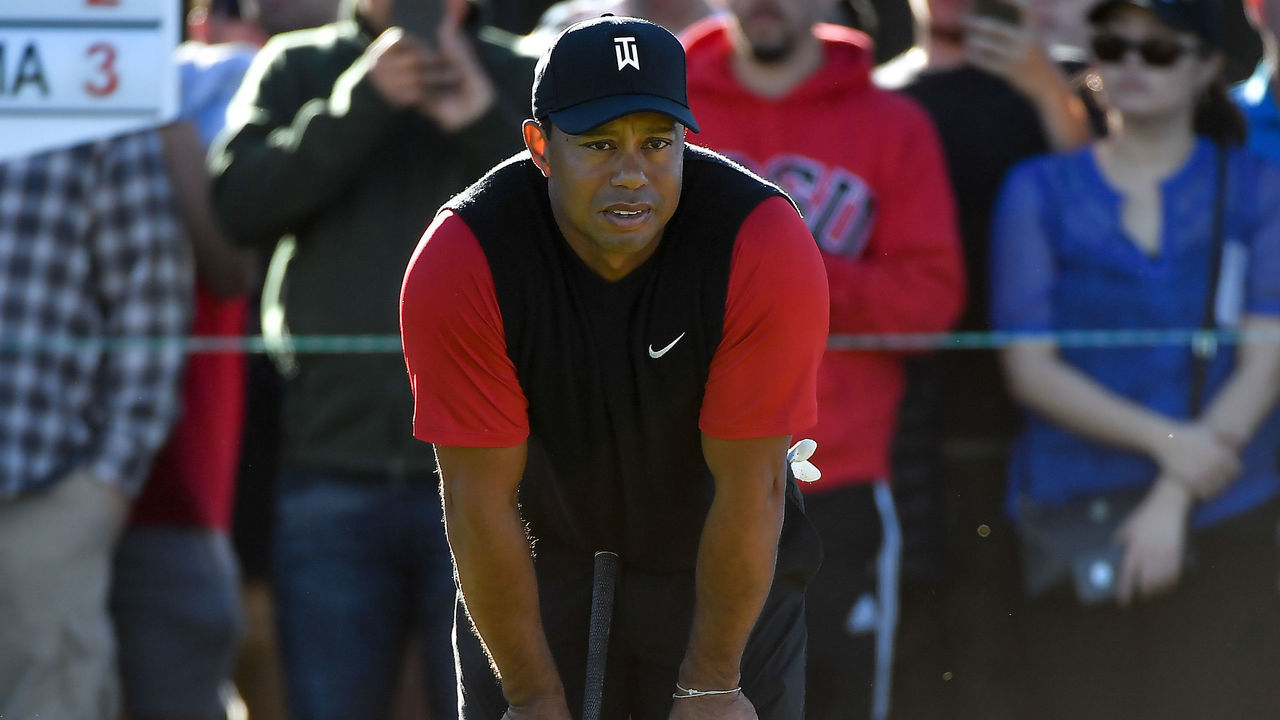 SAN DIEGO, CA - JANUARY 28: Tiger Woods looks on on the 11th green during the final round of the Farmers Insurance Open at Torrey Pines South on January 28, 2018 in San Diego, California.
