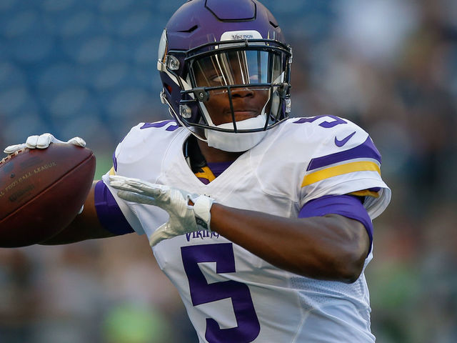 SEATTLE, WA - AUGUST 18: Quarterback Teddy Bridgewater #5 of the Minnesota Vikings warms up prior to the preseason game against the Seattle Seahawks at CenturyLink Field on August 18, 2016 in Seattle, Washington.