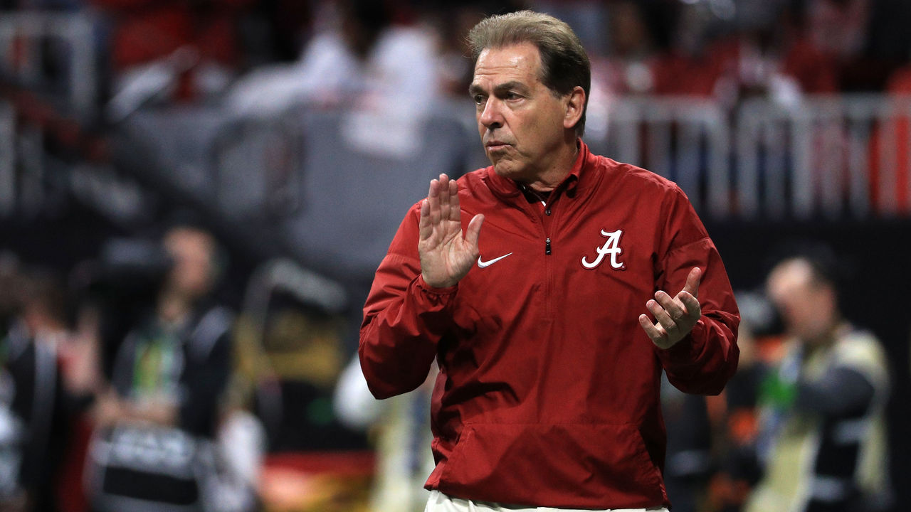 ATLANTA, GA - JANUARY 08: Head coach Nick Saban of the Alabama Crimson Tide reacts to a play during the first quarter against the Georgia Bulldogs in the CFP National Championship presented by AT&T at Mercedes-Benz Stadium on January 8, 2018 in Atlanta, Georgia.