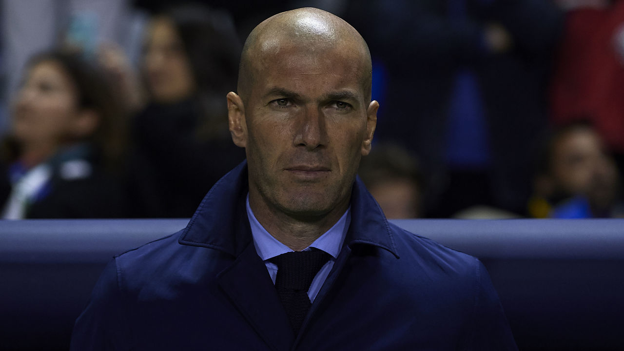 VALENCIA, SPAIN - FEBRUARY 03: Zinedine Zidane, Manager of Real Madrid looks on prior to the La Liga match between Levante and Real Madrid at Ciutat de Valencia on February 3, 2018 in Valencia, Spain.