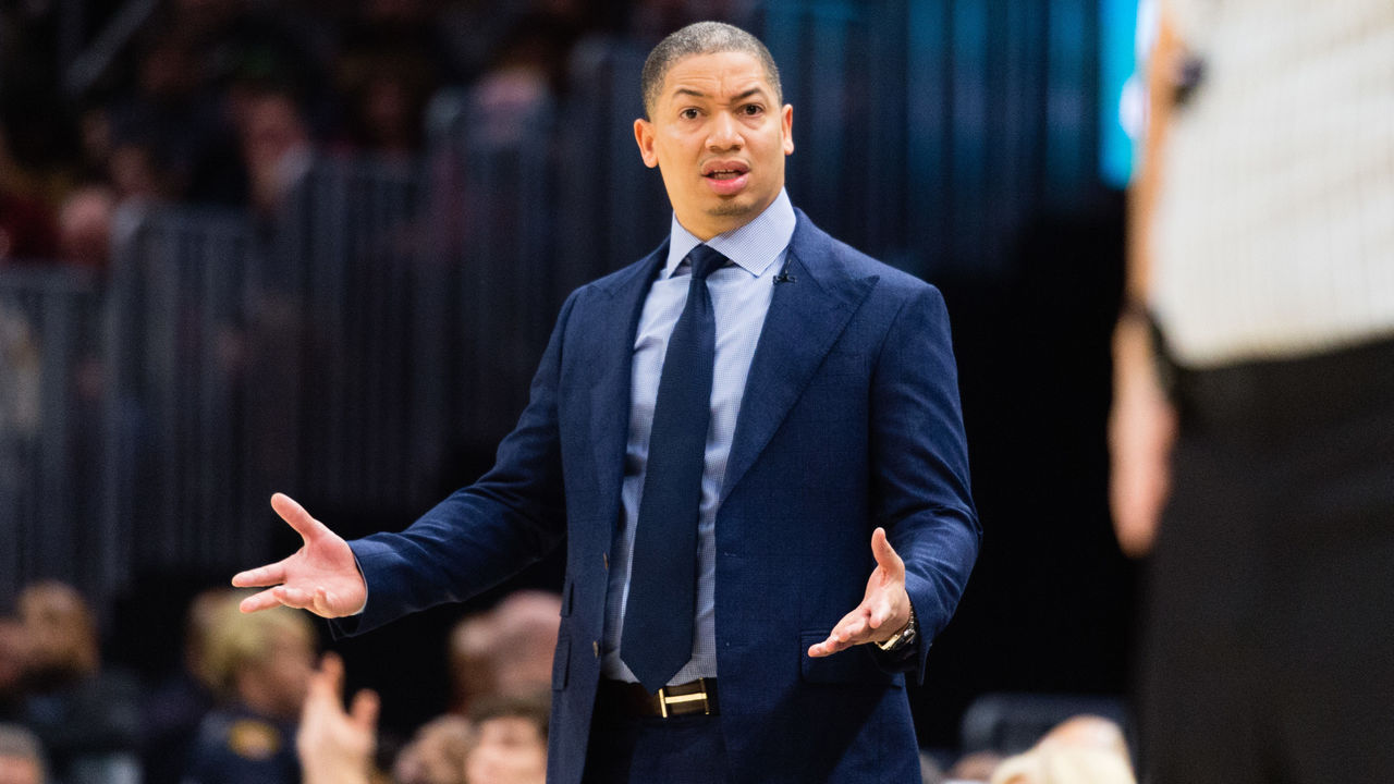 CLEVELAND, OH - FEBRUARY 3: Tyronn Lue of the Cleveland Cavaliers reacts to a foul call during the first half against the Houston Rockets at Quicken Loans Arena on February 3, 2018 in Cleveland, Ohio.
