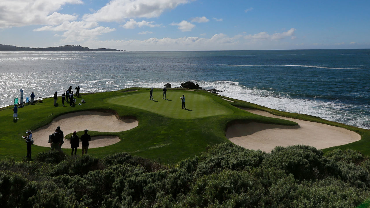 PEBBLE BEACH, CA - FEBRUARY 11: A view of the seventh green during Round Three of the AT&T Pebble Beach Pro-Am at Pebble Beach Golf Links on February 11, 2017 in Pebble Beach, California.