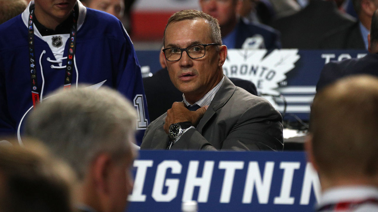CHICAGO, IL - JUNE 24: General manager Steve Yzerman of the Tampa Bay Lightning looks on during the 2017 NHL Draft at United Center on June 24, 2017 in Chicago, Illinois.