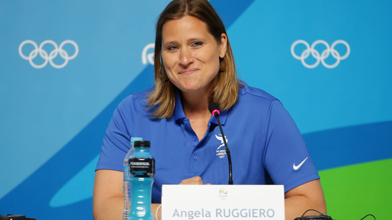 RIO DE JANEIRO, BRAZIL - AUGUST 09: Olympian Angela Ruggiero speaks during a LA24 press conference on Day 4 of the Rio 2016 Olympic Games on August 9, 2016 in Rio de Janeiro, Brazil.