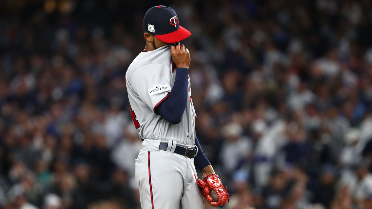 NEW YORK, NY - OCTOBER 03: Ervin Santana #54 of the Minnesota Twins reacts after giving up a three run home run to Didi Gregorius #18 of the New York Yankees during the first inning in the American League Wild Card Game at Yankee Stadium on October 3, 2017 in the Bronx borough of New York City.