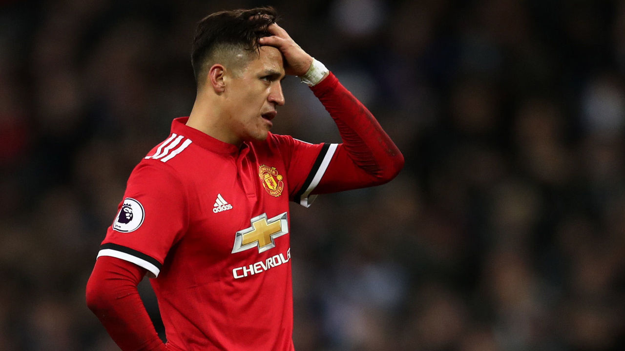 LONDON, ENGLAND - JANUARY 31: A dejected looking Alexis Sanchez of Manchester United during the Premier League match between Tottenham Hotspur and Manchester United at Wembley Stadium on January 31, 2018 in London, England.