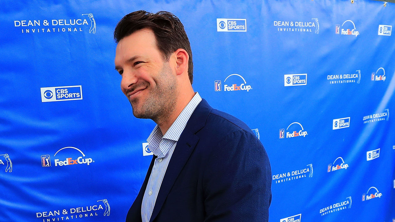 FORT WORTH, TX - MAY 27: Former Dallas Cowboys quarterback and on-air talent Tony Romo exits the broadcast booth during Round three of the DEAN & DELUCA Invitational at Colonial Country Club on May 27, 2017 in Fort Worth, Texas.