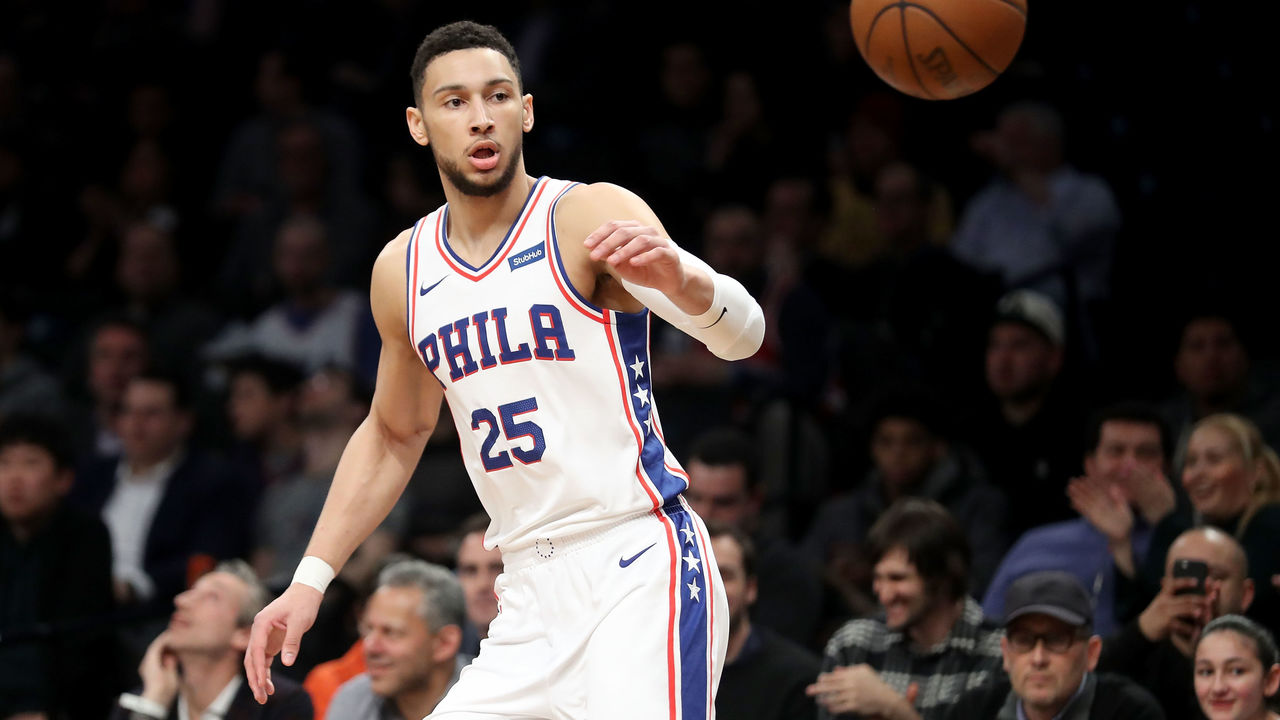 NEW YORK, NY - JANUARY 31: Ben Simmons #25 of the Philadelphia 76ers reaches for the ball against the Brooklyn Nets in the first quarter during their game at Barclays Center on January 31, 2018 in the Brooklyn borough of New York City.