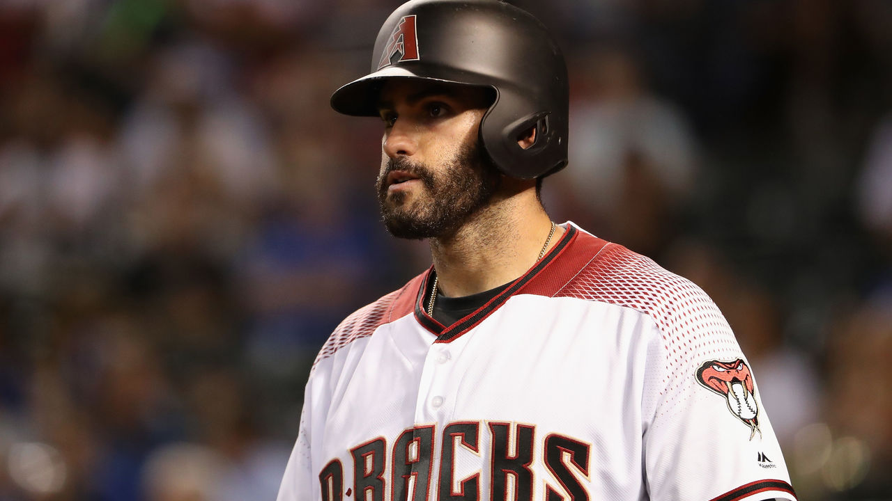 PHOENIX, AZ - AUGUST 09: J.D. Martinez #28 of the Arizona Diamondbacks warms up on deck during the MLB game against the Los Angeles Dodgers at Chase Field on August 9, 2017 in Phoenix, Arizona.
