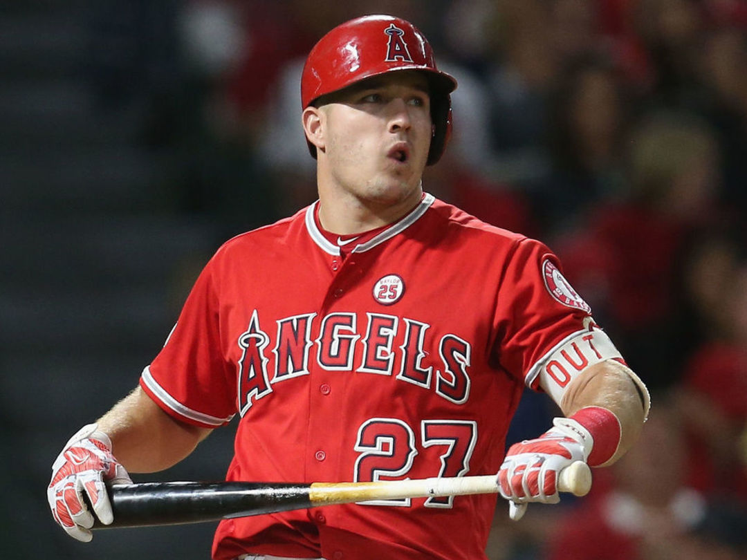Angels' Trout OK after being hit in helmet by pitch