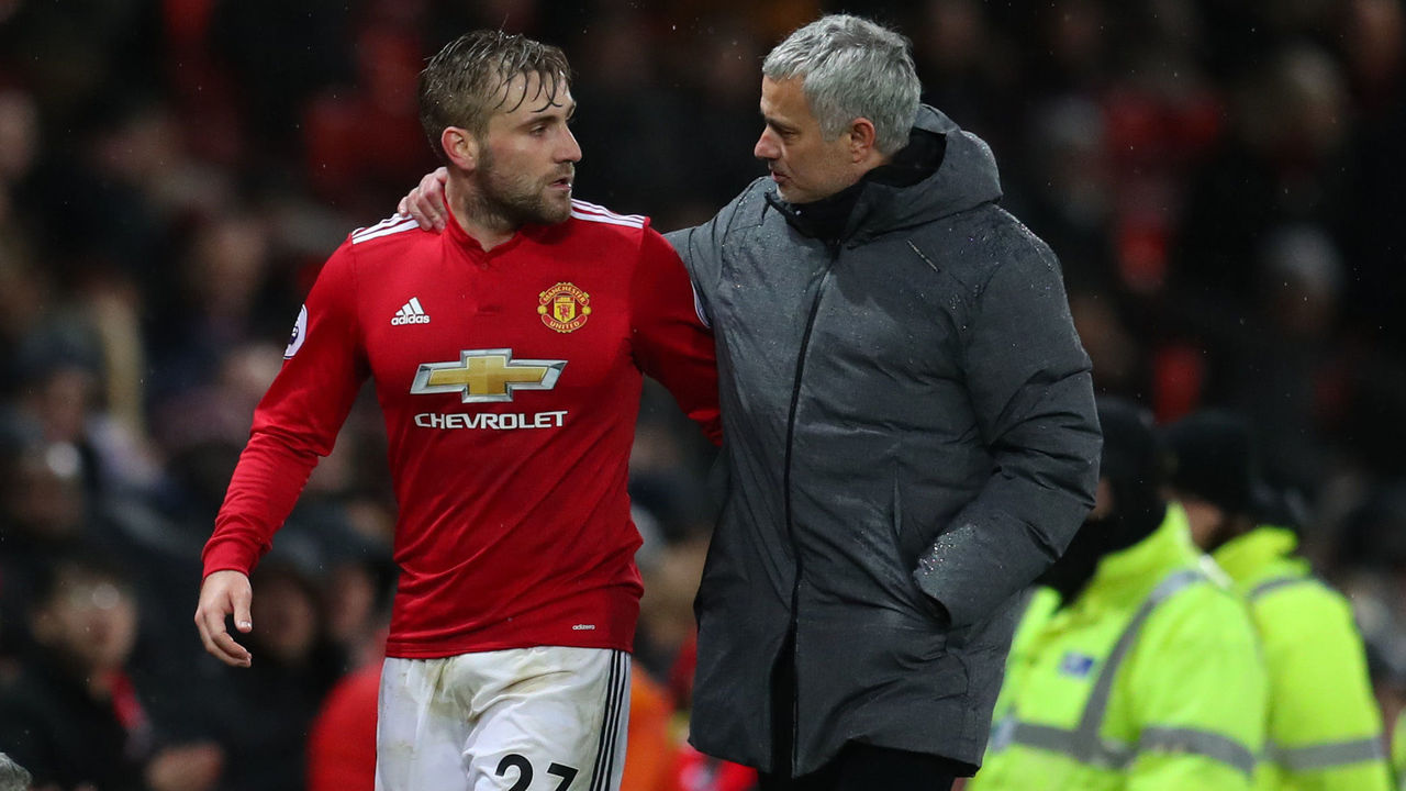 MANCHESTER, ENGLAND - DECEMBER 13: Luke Shaw of Manchester United and Jose Mourinho the head coach / manager of Manchester United during the Premier League match between Manchester United and AFC Bournemouth at Old Trafford on December 13, 2017 in Manchester, England.