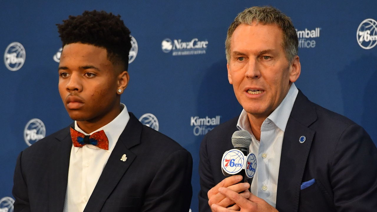PHILADELPHIA, PA - JUNE 23: Bryan Colangelo introduces the Philadelphia 76ers draftees at a press conference announcing Anzejs Pasecniks, Markelle Fultz, Jonah Bolden and Mathias Lessort at the Sixers Training Complex on June 23, 2017 in Camden, New Jersey. Mandatory Copyright Notice: Copyright 2017 NBAE