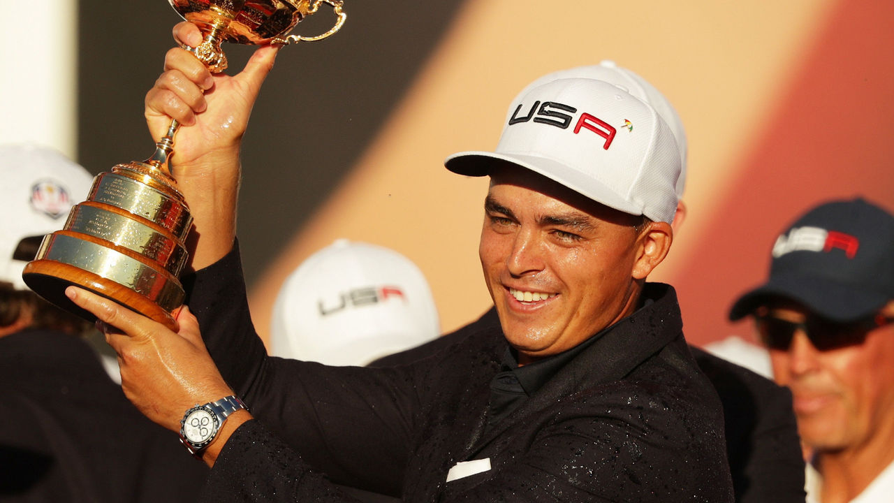 CHASKA, MN - OCTOBER 02: Rickie Fowler of the United States celebrates during the closing ceremony of the 2016 Ryder Cup at Hazeltine National Golf Club on October 2, 2016 in Chaska, Minnesota.