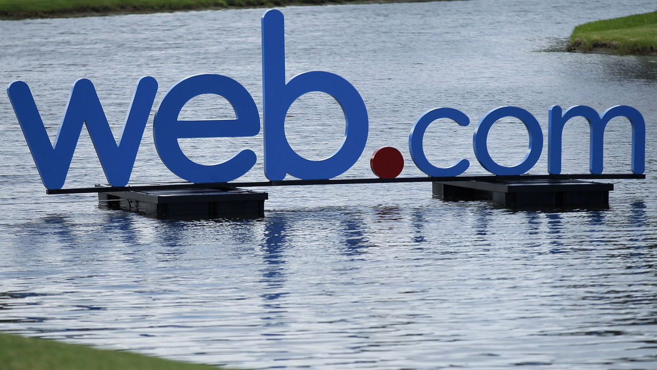 PONTE VEDRA BEACH, FL - SEPTEMBER 27: The Web.com logo is displayed during the second round of the Web.com Tour Championship held on the Dye's Valley Course at TPC Sawgrass on September 27, 2013 in Ponte Vedra Beach, Florida.