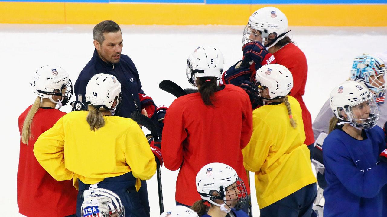 PYEONGCHANG-GUN, SOUTH KOREA - FEBRUARY 04: Head coach Robb Stauber of the USA Women's Olympic Hockey Team conducts practice at the Kwandong Hockey Centre on February 4, 2018 in Pyeongchang-gun, South Korea.