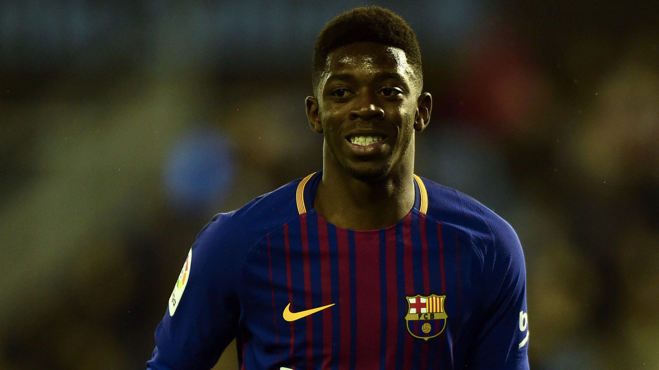 Barcelona's French forward Ousmane Dembele smiles during the Spanish Copa del Rey (King's Cup) football match RC Celta de Vigo vs FC Barcelona at the Balaidos stadium in Vigo on January 4, 2018. / AFP PHOTO / MIGUEL RIOPA