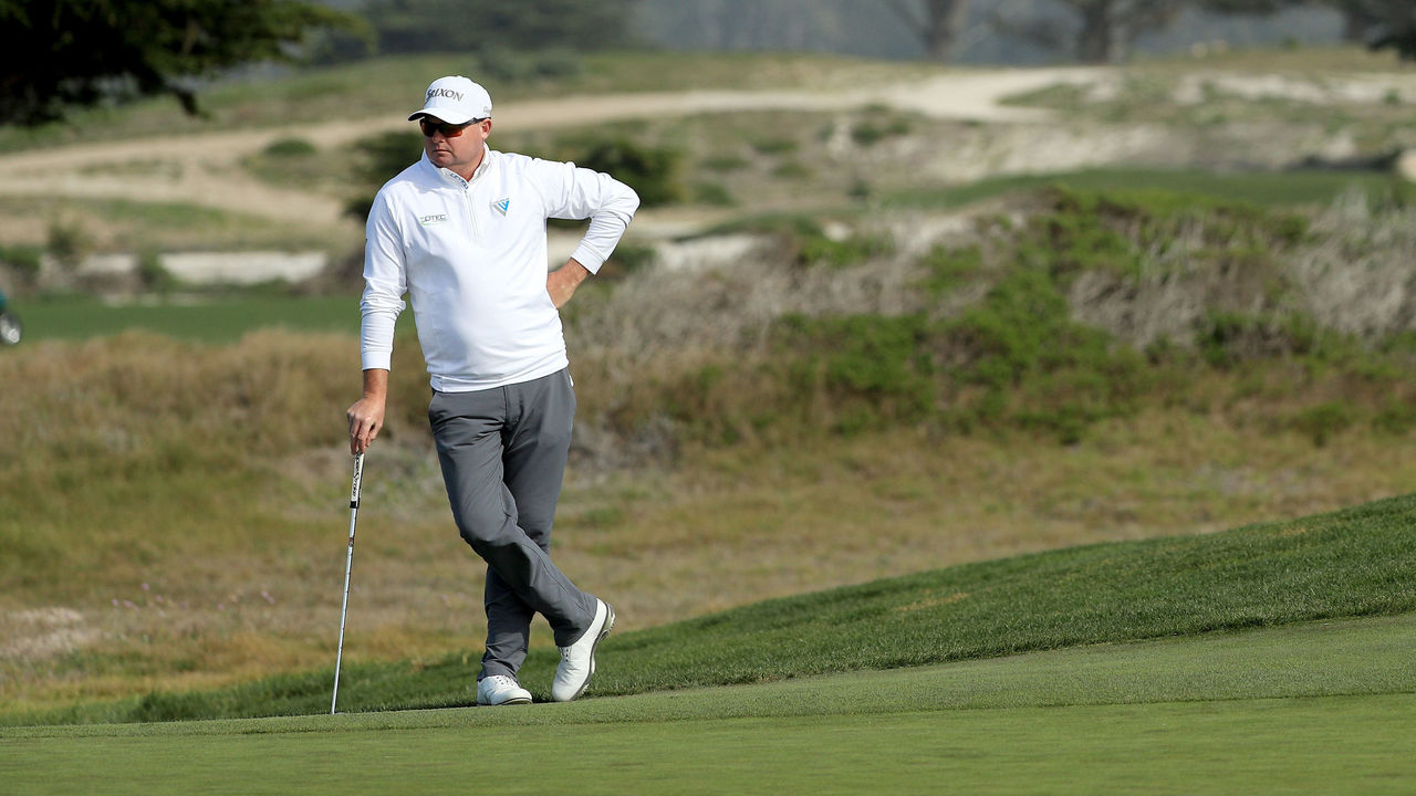 PEBBLE BEACH, CA - FEBRUARY 10: Ted Potter Jr. stands on the eighth green during Round Three of the AT&T Pebble Beach Pro-Am at Monterey Peninsula Country Club on February 10, 2018 in Pebble Beach, California.