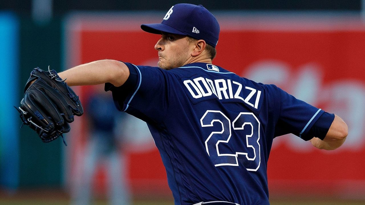 OAKLAND, CA - JULY 17: Jake Odorizzi #23 of the Tampa Bay Rays pitches against the Oakland Athletics during the first inning at the Oakland Coliseum on July 17, 2017 in Oakland, California.
