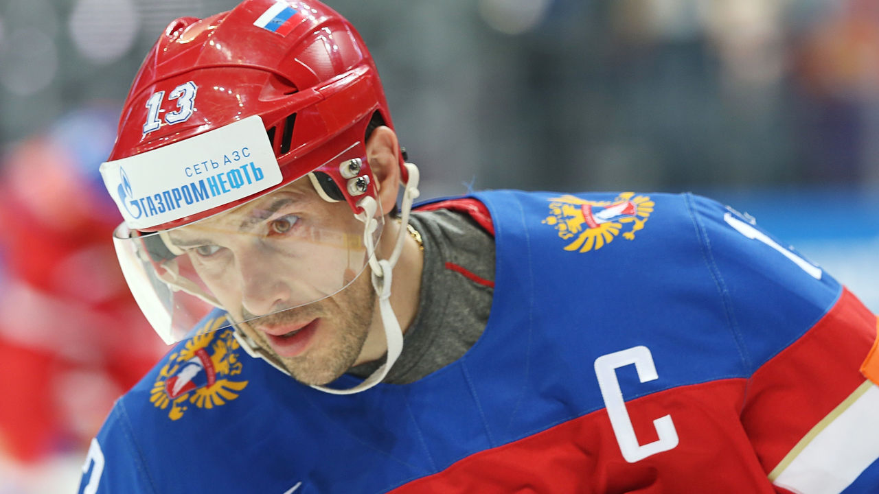 MOSCOW, RUSSIA - MAY 22: Pavel Datsyuk #13 of Russia skates against USA at Ice Palace on May 22, 2016 in Moscow, Russia.