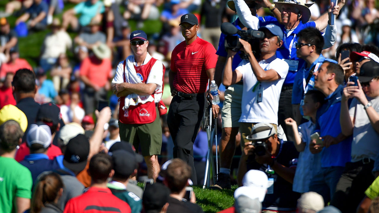 SAN DIEGO, CA - JANUARY 28: Tiger Woods among the gallery during the final round of the Farmers Insurance Open at Torrey Pines South on January 28, 2018 in San Diego, California.