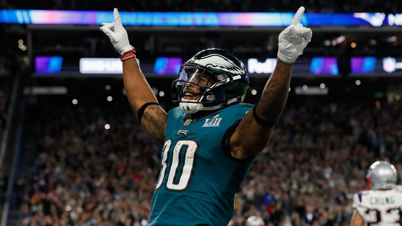 MINNEAPOLIS, MN - FEBRUARY 04: Corey Clement #30 of the Philadelphia Eagles celebrates the play against the New England Patriots during the second quarter in Super Bowl LII at U.S. Bank Stadium on February 4, 2018 in Minneapolis, Minnesota.