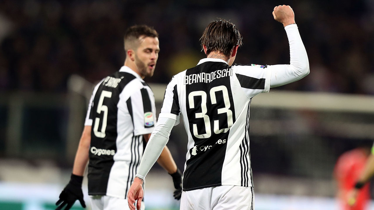 FLORENCE, ITALY - FEBRUARY 09: Federico Bernardeschi of Juventus celebrates after scoring a goal during the serie A match between ACF Fiorentina and Juventus at Stadio Artemio Franchi on February 9, 2018 in Florence, Italy.