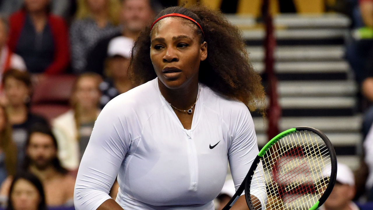 ASHEVILLE, NC - FEBRUARY 11: Serena Williams of Team USA reacts after a shot to Lesley Kerkhove and Demi Schuurs of the Netherlands during a doubles match in the first round of the 2018 Fed Cup at US Cellular Center on February 11, 2018 in Asheville, North Carolina.