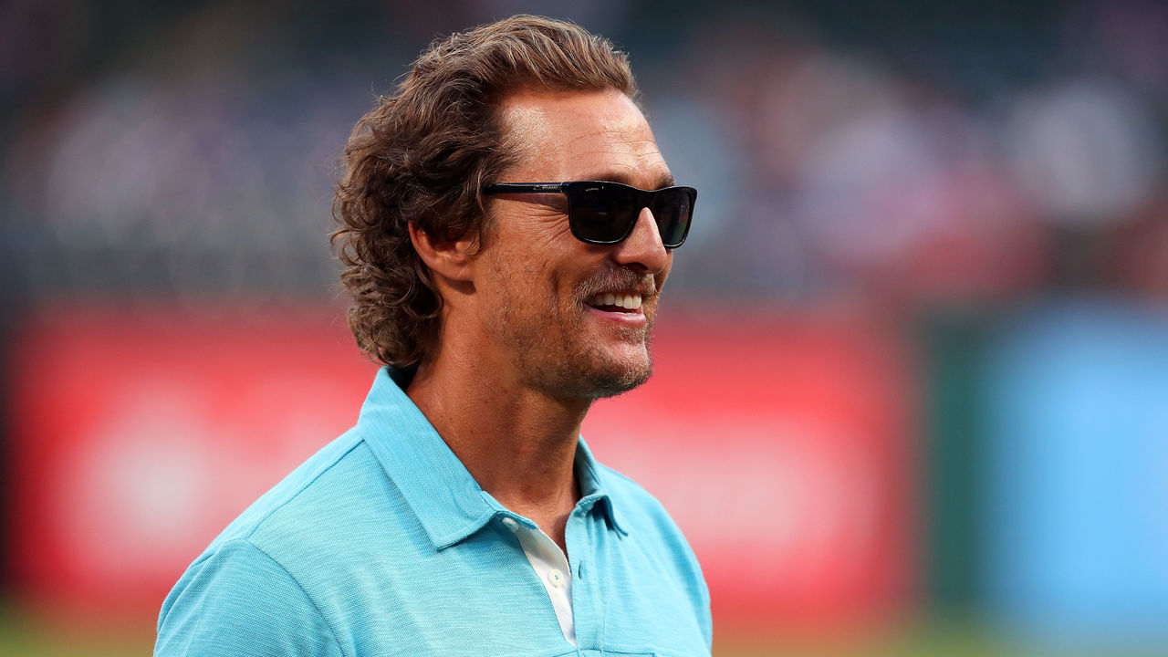 ARLINGTON, TX - SEPTEMBER 13: Actor Matthew McConaughey takes part in pregame activities before the Texas Rangers take on the Seattle Mariners at Globe Life Park in Arlington on September 13, 2017 in Arlington, Texas.