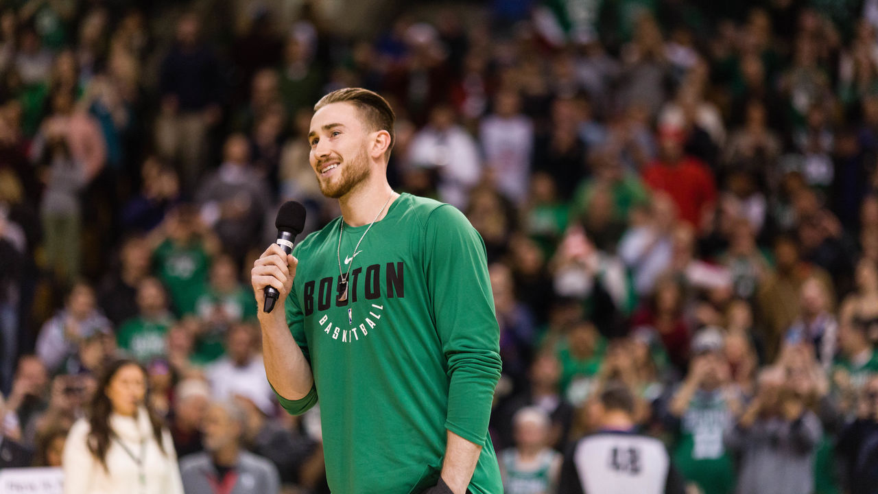 BOSTON, MA - DECEMBER 25: Gordon Hayward #20 of the Boston Celtics addresses the crowd before the game between Boston Celtics and the Washington Wizards at TD Garden on December 25, 2017 in Boston, Massachusetts.