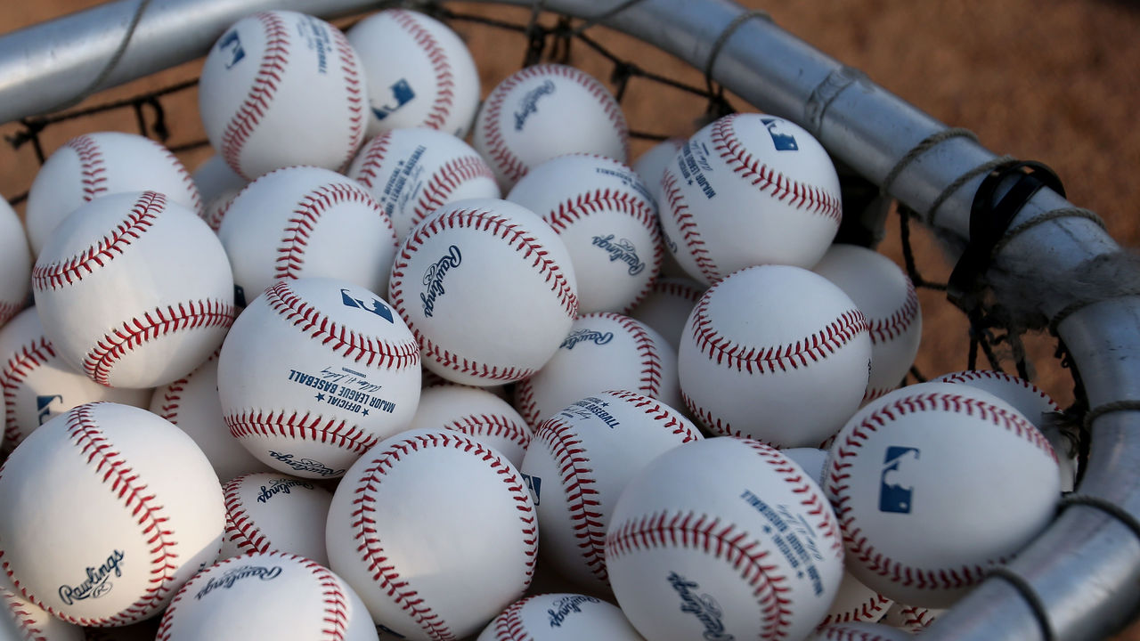 DETROIT, MI - OCTOBER 17: A detail of officiall major league baseball postseason baseballs are seen in a bucket during batting practice between the New York Yankees and the Detroit Tigers during game four of the American League Championship Series at Comerica Park on October 17, 2012 in Detroit, Michigan.